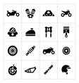Set icons of motorcycle vector image vector image