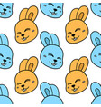 smiling rabbit head seamless pattern textile vector image vector image
