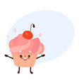sweet humanized cupcake brownie character vector image vector image