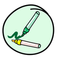 Two Marking Pen on Round Green Background vector image