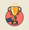 winner trophy round icon vector image