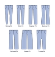 Women Jeans Types Set vector image