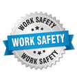 work safety round isolated silver badge vector image vector image