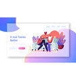 young loving couple home dating website landing vector image vector image