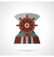 Flat color steering wheel icon vector image