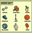 sport color outline isometric icons vector image