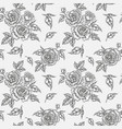 vintage rose flowers buds and leaves seamless vector image