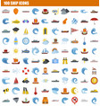 100 ship icon set flat style vector image vector image