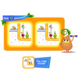 12 differences funny fruit for children vector image vector image