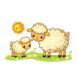 a sheep and a lamb stand in a green sunny meadow vector image