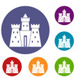 ancient castle palace icons set vector image vector image