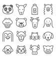animal icon set contains such icons as panda dog vector image vector image