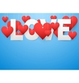 Background beautiful white text LOVE and red heart vector image