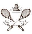 badminton logo sport hobbies outdoor recreation vector image