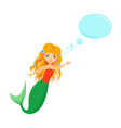 beautiful blonde mermaid with speech bubble vector image vector image