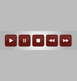brown white square music control buttons set vector image vector image
