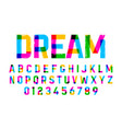 brush style colorful font alphabet and numbers vector image vector image
