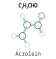 C2H3CHO acrolein molecule vector image vector image