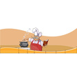 cartoon chef cooks in the pot and looks vector image