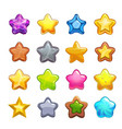 cartoon colorful star icons set vector image vector image