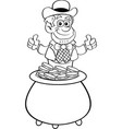 cartoon leprechaun sitting in a pot gold coins vector image vector image