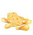 cheese and potato chips 3d realistic icon vector image