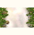 christmas background with fir branches and gifts vector image vector image
