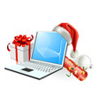 christmas laptop computer vector image vector image