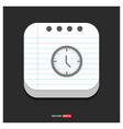 clock icon gray icon on notepad style template vector image