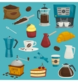 Coffee objects icons cupcroissantcakepot vector image