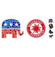 collage republican elephant icon with coronavirus vector image vector image