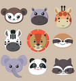 collection cute african animal faces vector image