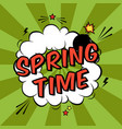colorful pop art with spring time phrase vector image vector image