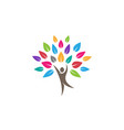 creative colorful people tree logo vector image vector image
