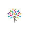 Creative colorful people tree logo