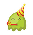 cute green monster emoji with birthday hat on a vector image vector image