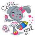 cute rabbit holding shopping bags taking selfie vector image vector image