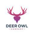 deer antlers and owl logo vector image vector image