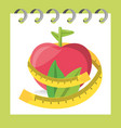 delicious healthy apple with leaves and measuring vector image vector image