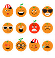 emojis orange fruit summer set of emotional vector image
