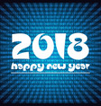 Happy new year 2018 on blue stripped binary code
