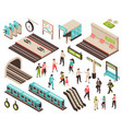 isometric subway constructor set vector image vector image