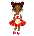 little african american girl with flowers vector image vector image