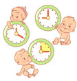 little baby with clocks time for baby children vector image