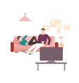 man and woman sitting and lying on comfortable vector image vector image