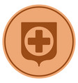 medical shield bronze coin vector image vector image