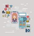 multimedia application icons with set device tech vector image