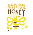 natural honey logo colorful hand drawn vector image vector image