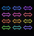 neon arrow sign on dark background light pointer vector image vector image