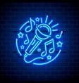 neon label music karaoke banner vector image vector image